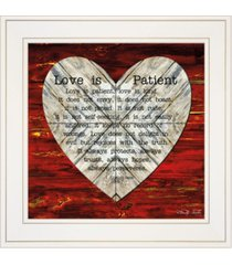 "trendy decor 4u love is patient by cindy jacobs, ready to hang framed print, white frame, 15"" x 15"""