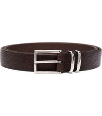 orciani textured leather belt - brown