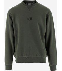 dsquared2 designer sweatshirts, green cotton icon print men's sweatshirt