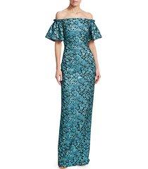 floral jacquard off-shoulder gown