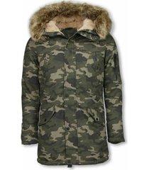 parka jas enos lange winterjas - met bontkraag - camouflage