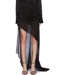 'aster' asymmetric drape sheer maxi skirt