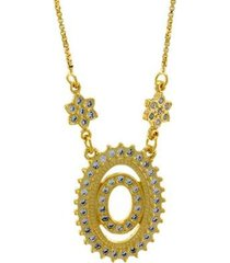 colar horus import letra o zircônia banhado ouro 18k feminino