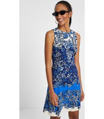 short dress with oriental print - blue - 46