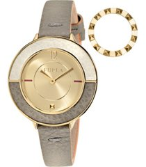 furla women's club gold dial calfskin leather watch