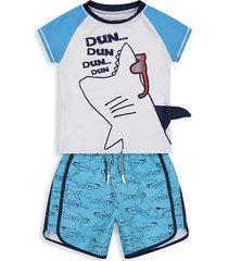 andy & evan little boy's shark sunglasses 2-piece rashguard & shorts set - blue tie dye - size 5
