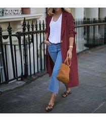 zanzea mujeres spring llanura escudo básico cardigan abrigo largo chaqueta de traje -rojo