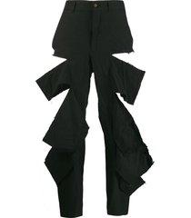 comme des garçons distressed cropped trousers - black