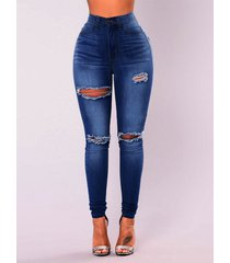 blue retro high-rise rips details jeans