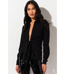 akira all of the time deep v pinstripe blouse