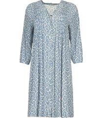 midi jurk met bloemenprint christiana  blauw
