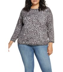 plus size women's wit & wisdom animal print back button sweater, size - (plus size) (nordstrom exclusive)