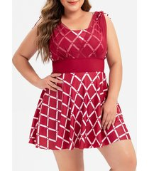 plus size cinched argyle print one-piece swimwear