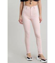 calça de sarja feminina sawary super skinny rosê