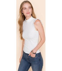 chelsea mock neck ribbed tank top - ivory
