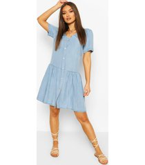 chambray mock horn button smock dress, light blue
