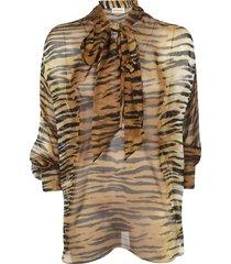 alexandre vauthier tiger print blouse