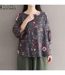 zanzea plus size pullover floral tops mujer o cuello 3/4 manga blusas asimétricas -gris