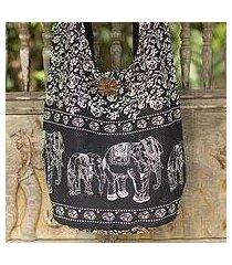 cotton shoulder bag, 'black and white siam' (thailand)