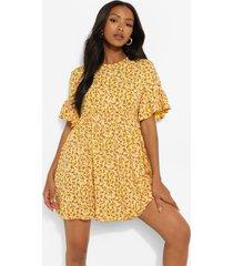 petite gesmokte bloemenpatroon jurk, yellow
