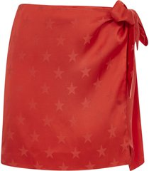 laneus red star-print wrap skirt