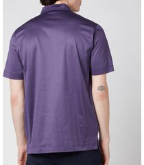 canali men's jersey button up polo shirt - purple - it 56/xxxl