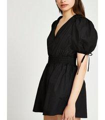 river island womens black short sleeve shirred waist playsuit