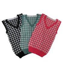 colete feminino trico pied poule tricot moda inverno 2021 preto