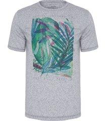 camiseta masculina folhagem - cinza