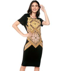 vestido manga corta estampado exclusivo multicolor realist