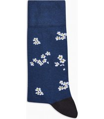 mens navy floral ditsy socks
