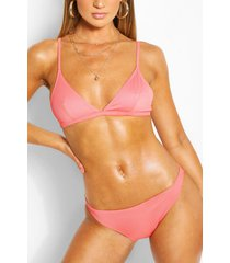 rib triangle bikini, coral
