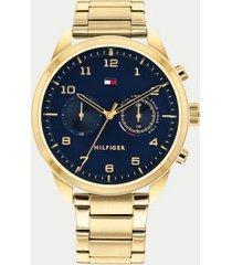 tommy hilfiger men's gold bracelet watch gold/navy -