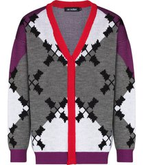 av vattev argyle intarsia-knit cardigan - purple