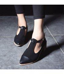 zapatillas oxford con tacón medio para mujer-negro