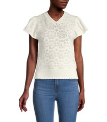 see by chloé women's scalloped-trim eyelet top - iconic milk - size m