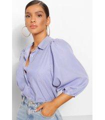 gestreepte katoenen blouse met ballonmouwen, indigo
