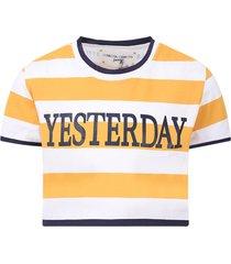 alberta ferretti yellow and white girl t-shirt with blue yesterday writing