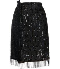 marine serre sequin-embellished fringe-hem skirt - black