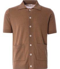 far afield velzy short sleeve cardigan | thrush brown | afkn211-thr