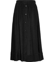 button through midi skirt knälång kjol svart calvin klein