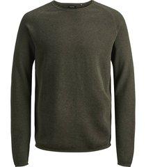 jack & jones trui 12157321 ehill knit olive night pullover - groen