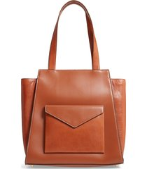 staud wyatt leather tote - brown