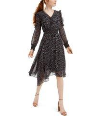 sam edelman long-sleeve scarf-print dress