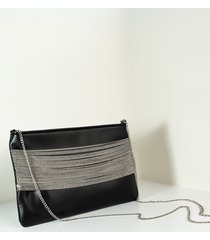 akira rock chic faux leather and chain clutch