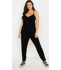 basic jumpsuit cami, zwart
