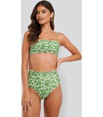 trendyol floral frilly high waist bikini - green