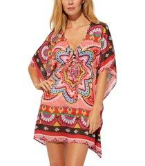 bleu by rod beattie printed chiffon caftan women's swimsuit