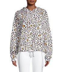 kensie women's leopard-print hoodie - size s