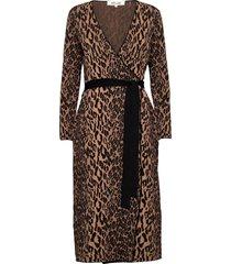 dvf damaris knälång klänning brun diane von furstenberg